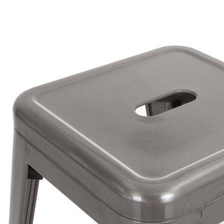 Tabouret bas gris en acier brossé | BERLIN