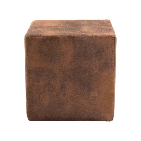 Pouf cube en microfibre effet vintage | EDIMBOURG