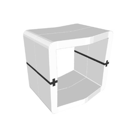 Pouf U-Cube blanc raccord noir | STOCKHOLM