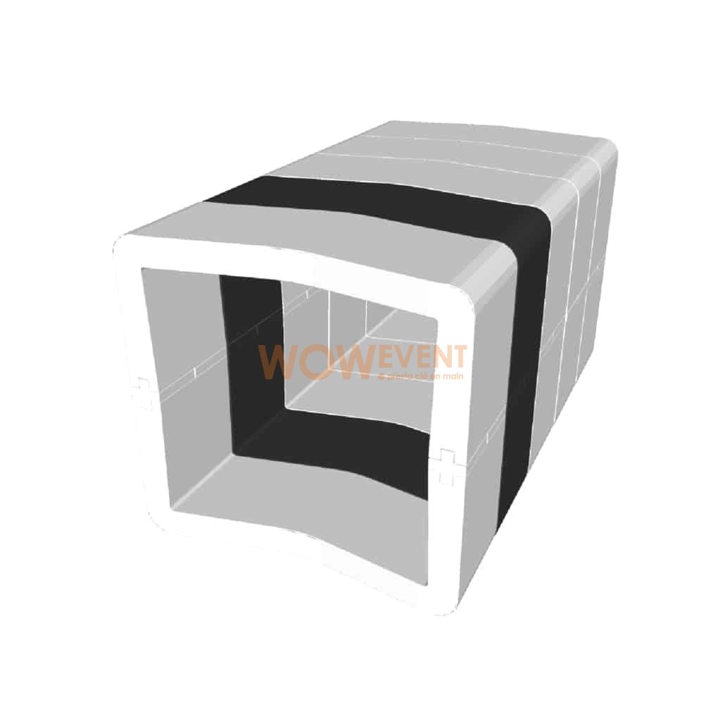Banquette U-Cube blanc chevron noir | COPENHAGUE