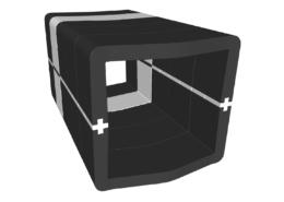 Banquette U-Cube noir chevron blanc à raccord | COPENHAGUE