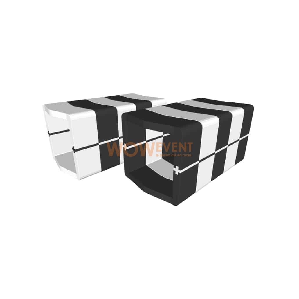 Banquette U-Cube zébré avec raccord | COPENHAGUE