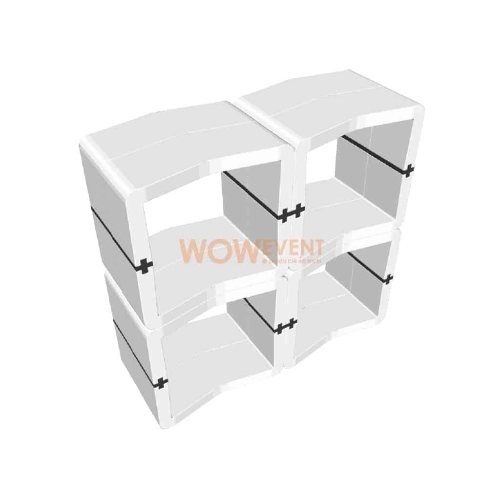Desk ouvert U-Cube blanc raccord noir | LONDRES