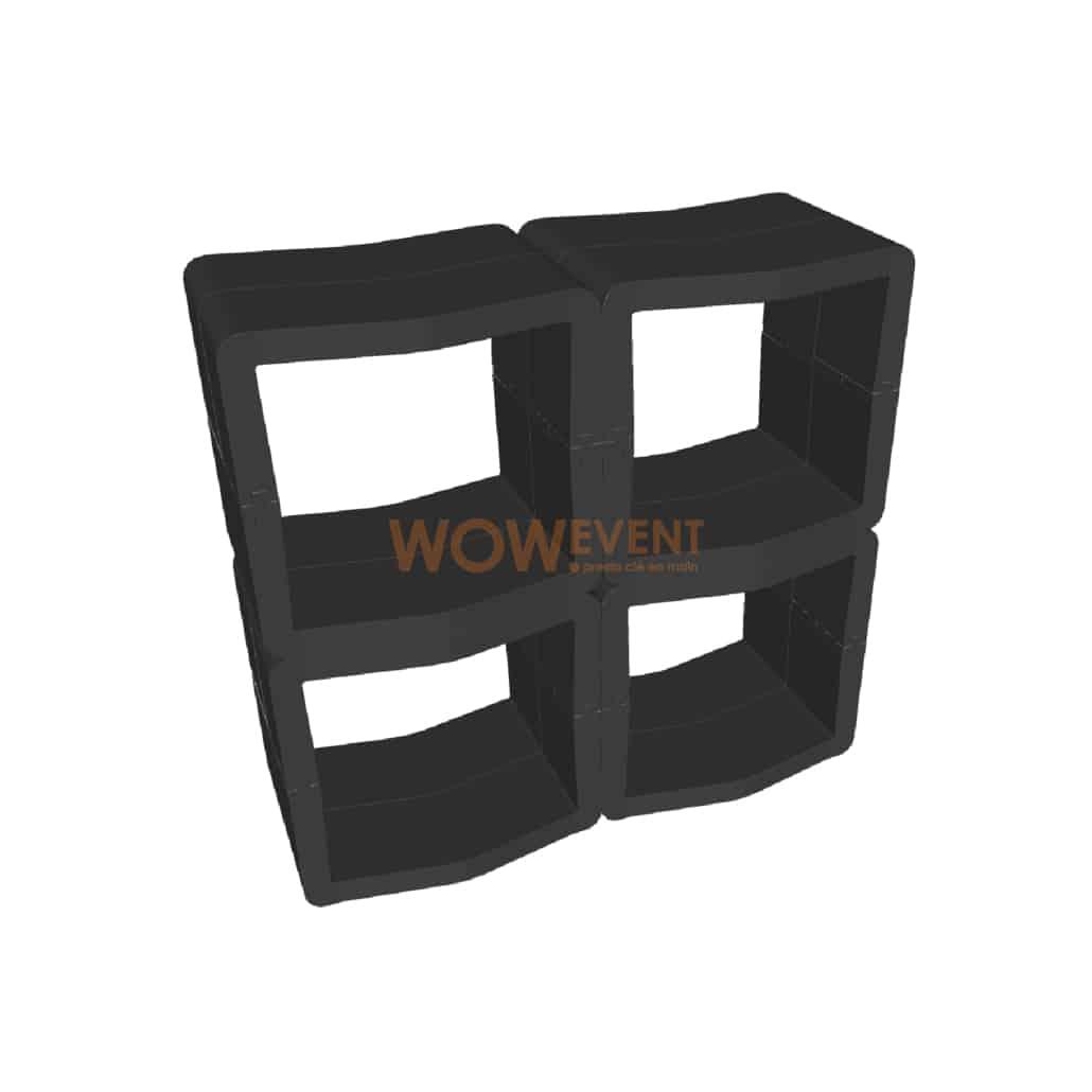Comptoir ouvert U-Cube noir | LONDRES