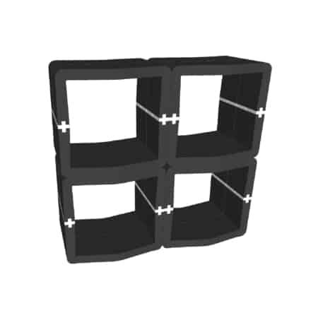 Comptoir ouvert U-Cube noir raccord blanc | LONDRES