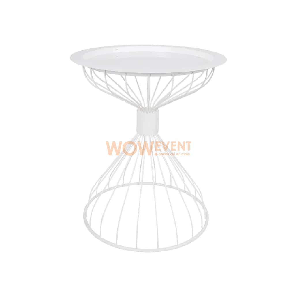 Table d'appoint sur plateau en armature blanche | VARSOVIE