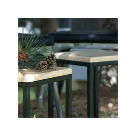 Table d'appoint structure noire sur plateau boise | VIENNE