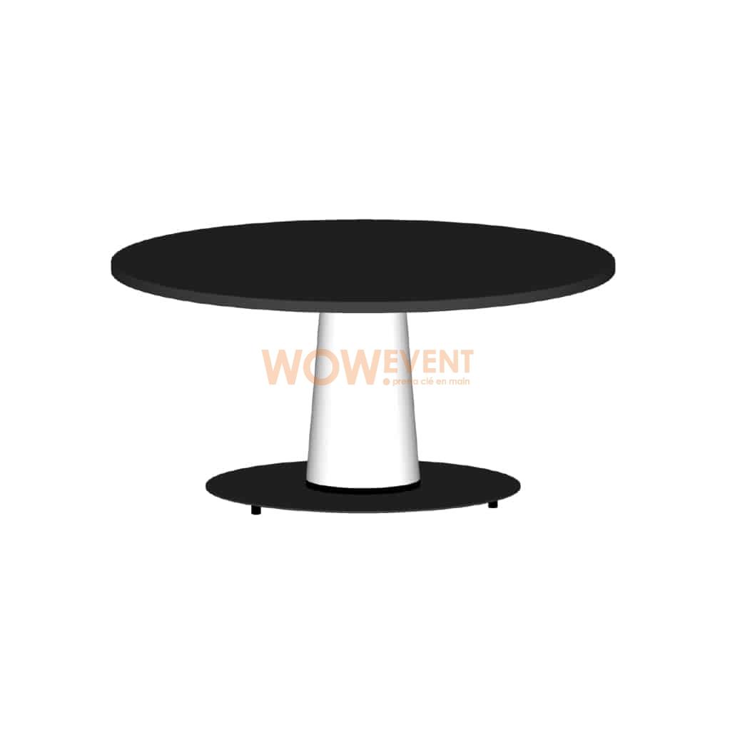 Table lounge évasée blanche plateau noir